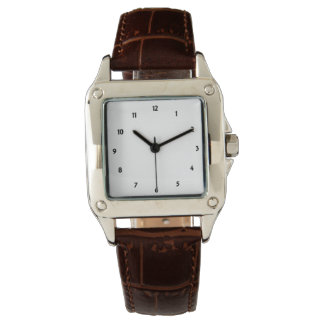 Womens Perfect Square Brown Leather Strap Watch