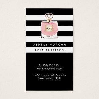 Womens Perfume Fragrances Shop Black White Stripes Business Card