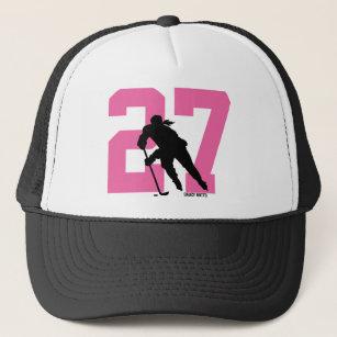Women s Personalized Custom Hockey Player Number Trucker Hat 02311f5b530