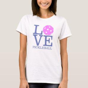 "Women's Pickleball T-shirt: ""LOVE"" (Pink) T-Shirt"