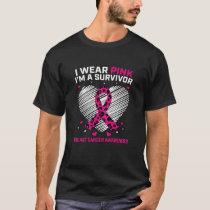Womens Pink Breast Cancer Survivor Awareness Cheet T-Shirt