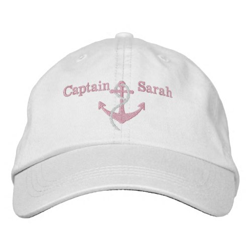 Womens Pink Captain Nautical Anchor Name Hat