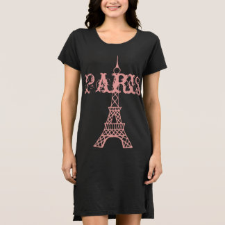 Women's Pink Eiffel Tower Paris Nightgown Gift Dress