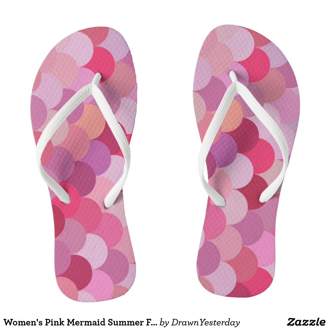 Women's Pink Mermaid Summer Flip Flops