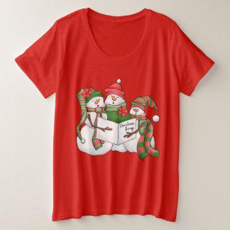 Womens plus size Watercolor snowman t-shirt