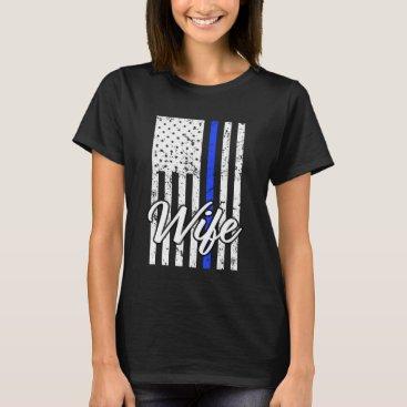 Beach Themed Women's Police Officer Wife Thin Blue Line Shirt