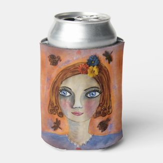Women's Portrait on Blue and Orange Can Cooler