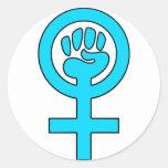 Women's Power Feminist Symbol Round Stickers
