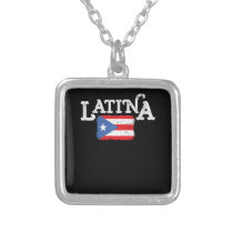 Womens Puerto Rico Latina Mama Flag Mothers Day Silver Plated Necklace