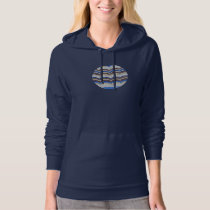Women's pullover hoodie with blue mosaic
