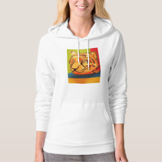 Womens Pullover Hoodie with Bright Tiger Design