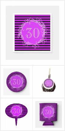 Women's Purple Black 30th Birthday Party