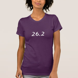 Women's purple short sleeved shirt with 26.2  logo
