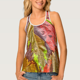 WOMEN'S RACERBACK TEE/MULTI-COLORED LEAVES TANK TOP