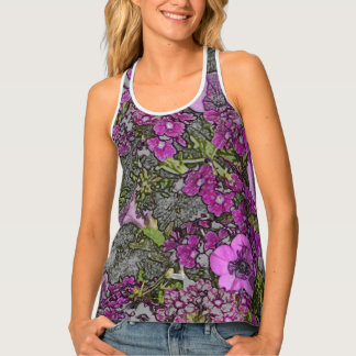WOMEN'S RACERBACK TEE/PURPLE PETUNIAS/DIGITAL EFFE TANK TOP