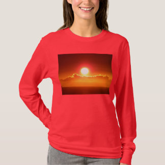 Women's Radiant Red and Gold Hawaiian Sunset T-Shirt