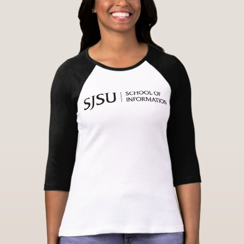 Womens Raglan T_shirt _ Black iSchool logo
