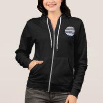 Women's raglan zip hoodie with blue mosaic