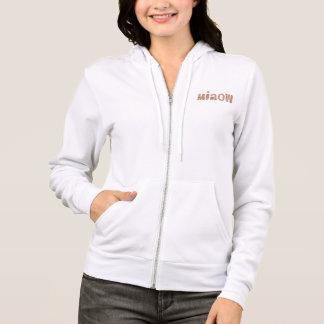 Women's raglan zip hoodie with 'miaow'