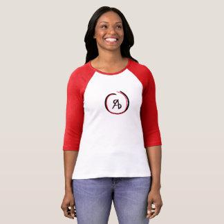 Women's Red and Black 'Messy' Logo Baseball T T-Shirt
