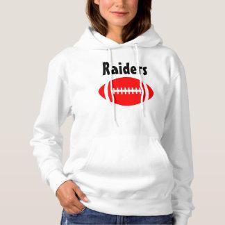 Women's Red Football Fan Custom Team Name Hoodie