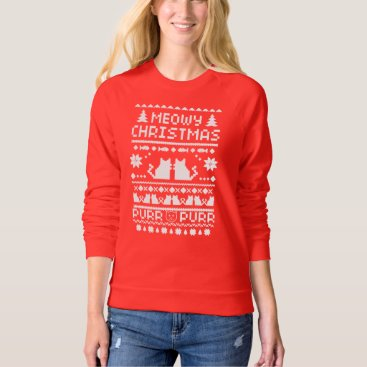 Christmas Themed Women's Red Meowy Christmas Holiday Cat Sweater