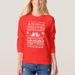 Women's Red Meowy Christmas Holiday Cat Sweater Shirts