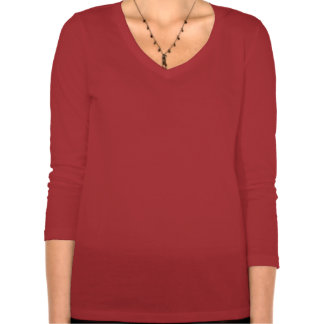 Womens Relaxed Fit 3/4 Sleeved V-Neck (red) T-Shirt