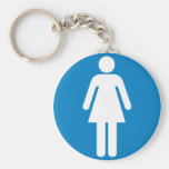 Women's Restroom Highway Sign Basic Round Button Keychain
