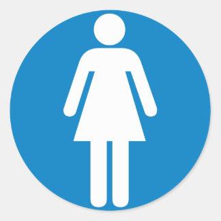 Women's Restroom Highway Sign Classic Round Sticker