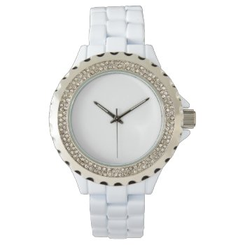 Women's Rhinestone White Enamel Watch by CREATIVEBRANDS at Zazzle