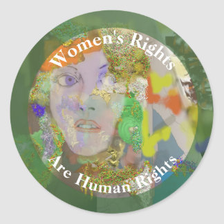 Women's Rights are Human Rights Drawing of Woman 2 Classic Round Sticker