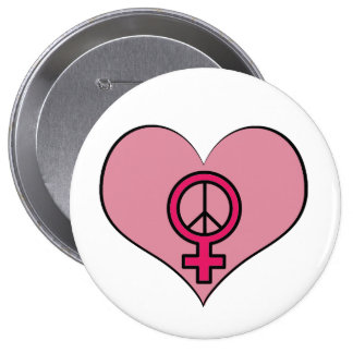 Womens Rights Protest Heart Feminist Round Button