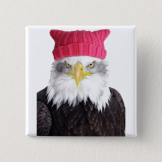 "Women's Rights Pussy Hat Eagle 2"" Square Button"