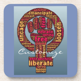women's rights raised fist Thunder_Cove Beverage Coaster