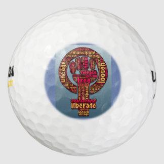 women's rights raised fist Thunder_Cove Golf Balls