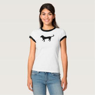 Women's ringer t-shirt black lab silhouette