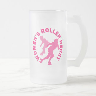 Women's Roller Derby Frosted Glass Beer Mug