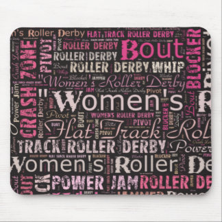 Women's Roller Derby Text Collage Mousepads