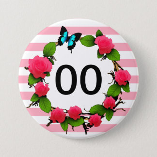 Womens Rose 91st 92nd 95th 97th 98th 99th Birthday Pinback Button