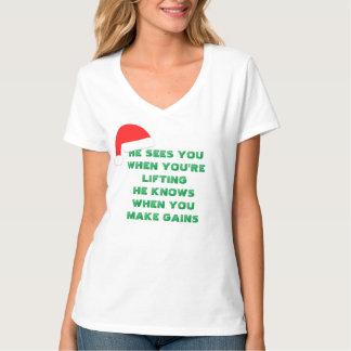 Women's Santa's Gains white v-neck t-shirt