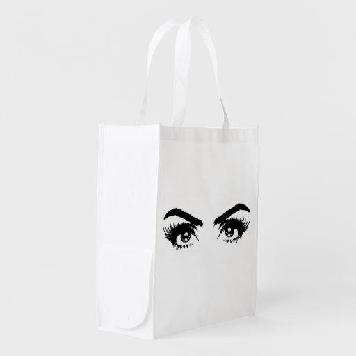 Womens Sketch Eyes Reuseable Bag Reusable Grocery Bag