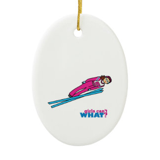 Womens Ski Jumping Double-Sided Oval Ceramic Christmas Ornament