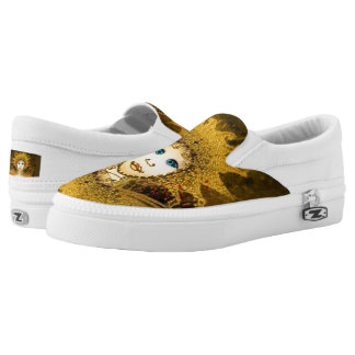 Women's Slip On Shoes w Gold Yellow Art Déco Fairy