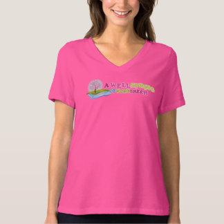Women's Small Berry V-Neck Shirt with Logo