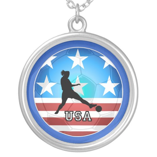 womens soccer silver plated necklace