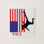 """Women&#39;s Soccer USA Jigsaw Puzzle<br><div class=""""desc"""">A silhouette of a female soccer player in front of the American flag.  USA is on the left.  Great gift to celebrate international women&#39;s soccer victories!</div>"""