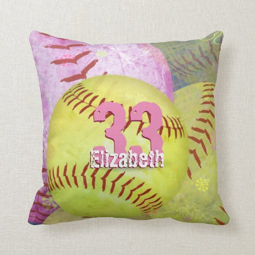 Women s Softball bright yellow and pink Throw Pillow Zazzle