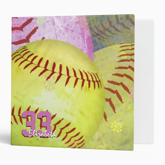 Women's softball bright yellow pink binder