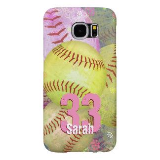 Women's Softball bright yellow pink Samsung Galaxy S6 Case